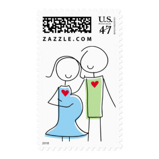 Expecting Couple Stamps, Blue and Green Postage Stamp