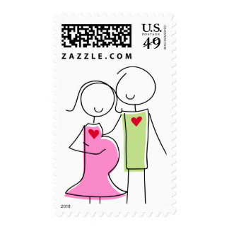 Expecting Couple Stamps, Pink and Green Postage Stamps