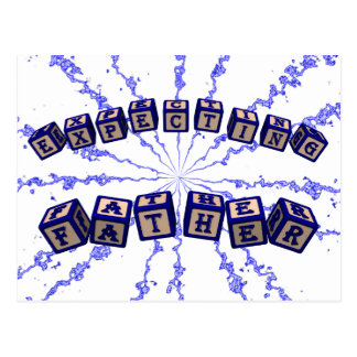 Expecting father toy blocks in blue postcard