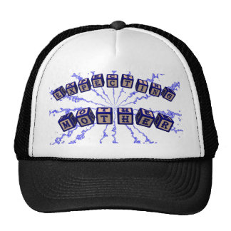 Expecting mother toy blocks in blue trucker hat