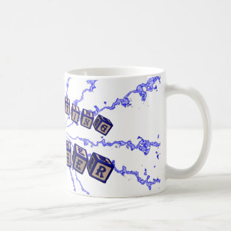 Expecting mother toy blocks in blue mug