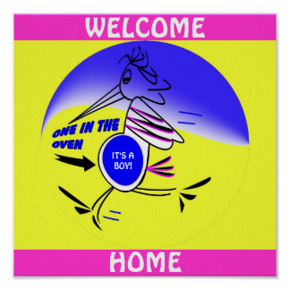 EXPECTING STORK WELCOME HOME POSTER