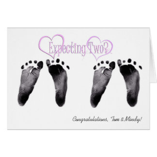 Expecting Twin Girls Congratulations Card