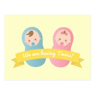 Expecting Twins - Cute baby boy and girl Post Cards
