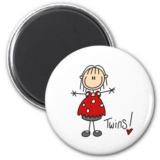 Expecting Twins Stick Figure Magnet