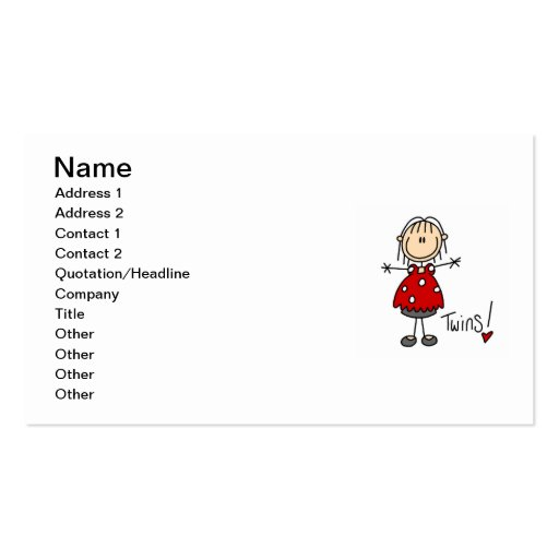 Expecting Twins T-shirts and Gifts Double-Sided Standard Business Cards (Pack Of 100)