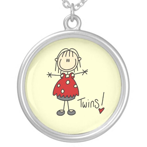 Expecting Twins T-shirts and Gifts Round Pendant Necklace
