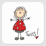 Expecting Twins T-shirts and Gifts Square Stickers