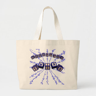 Expecting Twins toy blocks in blue. Tote Bags