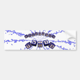 Expecting Twins toy blocks in blue. Car Bumper Sticker