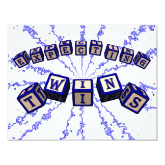 Expecting Twins toy blocks in blue. Card