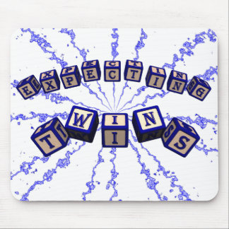 Expecting Twins toy blocks in blue. Mouse Pads