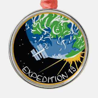 Expedición 19 adorno navideño redondo de metal