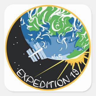 Expedición 19 pegatina cuadrada