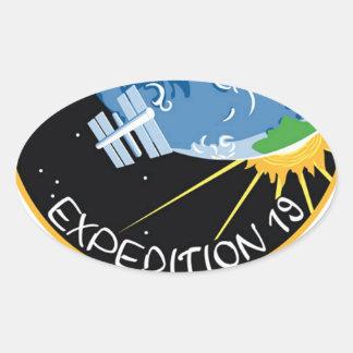 Expedición 19 pegatina ovalada