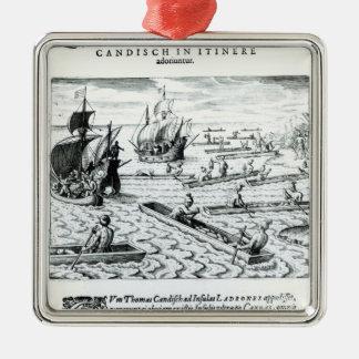 Expedición de Thomas Cavendish Adorno Navideño Cuadrado De Metal