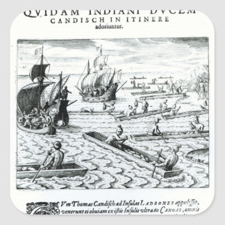 Expedición de Thomas Cavendish Colcomanias Cuadradas Personalizadas