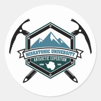 Expedición del antártico de la universidad de pegatina redonda