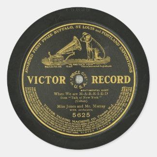 Expediente de fonógrafo DE REGISTRO del vintage Pegatina Redonda