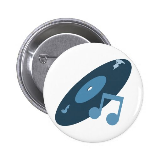 Expediente de la música y azul retros de la nota pin redondo 5 cm