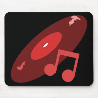 Expediente de la música y rojo retros de la nota alfombrilla de ratones