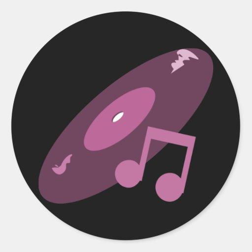 Expediente de la música y rosa retros de la nota pegatina redonda