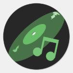 Expediente de la música y verde retros de la nota pegatinas redondas