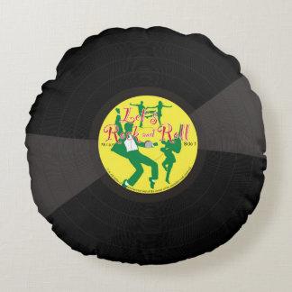 Expediente de negro vinilo del rock-and-roll de la cojín redondo