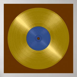 Expediente del oro con la etiqueta azul impresiones