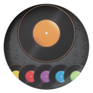 Expedientes de la placa giratoria en colores vivos plato para fiesta