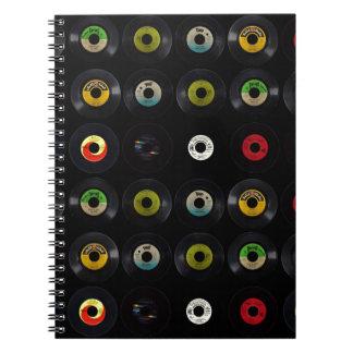 Expedientes retros del vinilo 45 del vintage libretas espirales