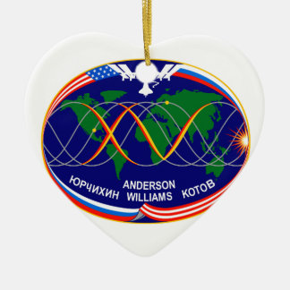 Expedition 15 Crew Patch Double-Sided Heart Ceramic Christmas Ornament