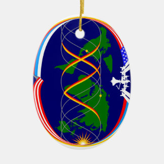 Expedition 15 Mission Patch Double-Sided Oval Ceramic Christmas Ornament