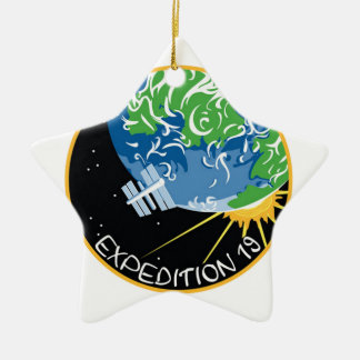 Expedition 19 Double-Sided star ceramic christmas ornament
