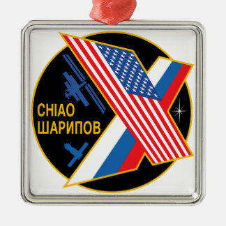 Expedition Crews to the ISS:  Expedition 10 Square Metal Christmas Ornament