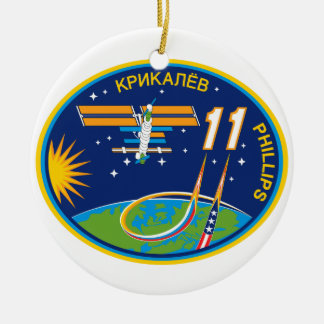 Expedition Crews to the ISS:  Expedition 11 Double-Sided Ceramic Round Christmas Ornament