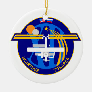 Expedition Crews to the ISS:  Expedition 12 Double-Sided Ceramic Round Christmas Ornament