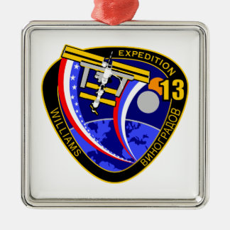 Expedition Crews to the ISS:  Expedition 13 Square Metal Christmas Ornament