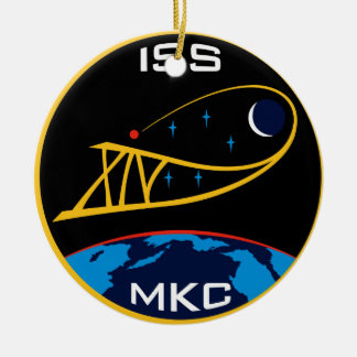 Expedition Crews to the ISS:  Expedition 14 Double-Sided Ceramic Round Christmas Ornament