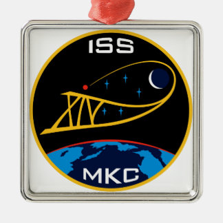 Expedition Crews to the ISS:  Expedition 14 Square Metal Christmas Ornament