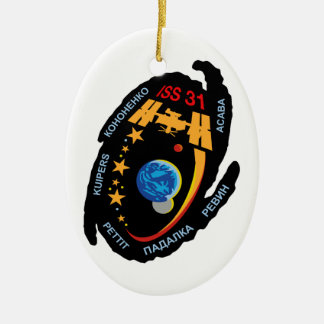 Expedition Crews to the ISS:  Expedition 31 Double-Sided Oval Ceramic Christmas Ornament