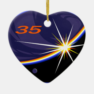 Expedition Crews to the ISS :   Expedition 35 Double-Sided Heart Ceramic Christmas Ornament