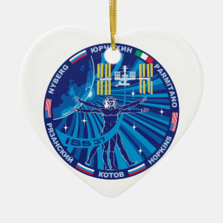Expedition Crews to the ISS :   Expedition 37 Double-Sided Heart Ceramic Christmas Ornament