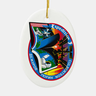Expedition Crews to the ISS:  Expedition 3 Double-Sided Oval Ceramic Christmas Ornament