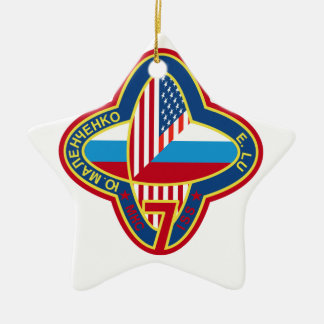 Expedition Crews to the ISS:  Expedition 7 Double-Sided Star Ceramic Christmas Ornament