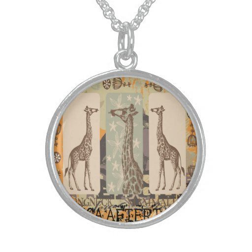 Expeditiontees Giraffa Camelopardalis Sterling Silver Necklaces