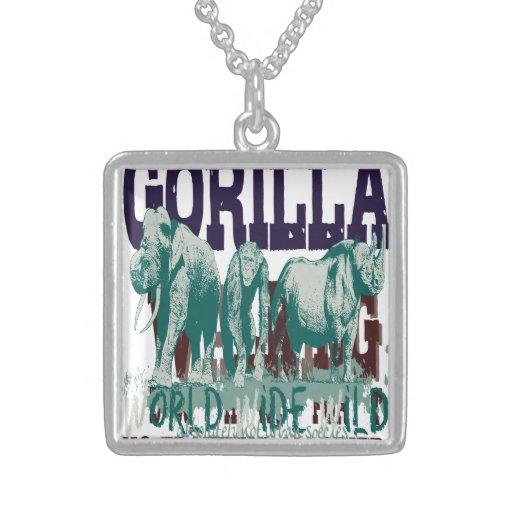 Expeditiontees Gorrilla Walking Square Pendant Necklace