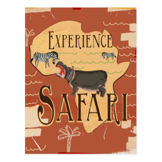 Experience African Safari Vintage Travel Poster Postcard