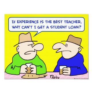 "experience best teacher student loan 4.25"" x 5.5"" invitation card"