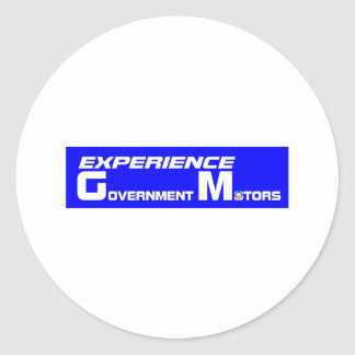 Experience Government Motors Classic Round Sticker